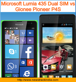 Microsoft Lumia 435 Dual SIM vs Gionee Pioneer P4S : Comparison of Features and Specification