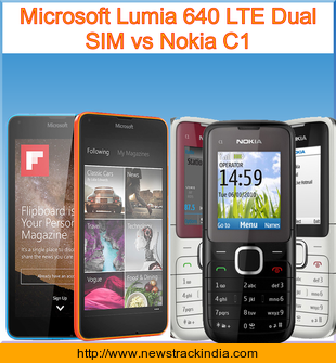 Microsoft Lumia 640 LTE Dual SIM vs Nokia C1 : Comparison of Features and Specification