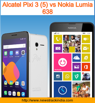 Alcatel Pixi 3 (5) vs Nokia Lumia 638 : Comparison of Features and Specification