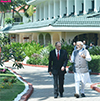 PM Modi and the President of Vladimir Putin moving for media statement