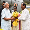 PM Narendra Modi being received by the Governor of Jharkhand