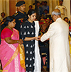 President of India presenting the Shaurya Chakra to Lieutenant Colonel Niranjan Ek