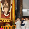 PM Modi paying tributes at the portrait of Sardar Vallabhbhai Patel